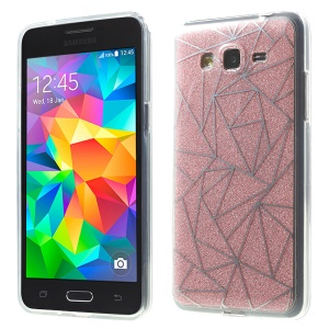 Double-sided Glitter Powder TPU + Acrylic Hybrid Cover for Samsung Galaxy Grand Prime SM-G530 - Pink