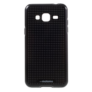 MOTOMO Dot Texture Hybrid TPU + PC Shield Case for Samsung Galaxy J3 (2016) - Black