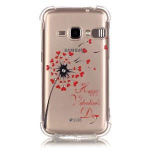 For Samsung Galaxy J1 (2016) Rhinestone Decoration TPU  Incoming Call Bling Case - Dandelion Pattern