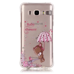 Incoming Call Flash Rhinestone TPU Skin Case for Samsung Galaxy J5 (2016) - Bear Holding Umbrella