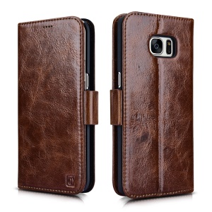 ICARER 2-In-1 Oil Wax Genuine Leather Case for Samsung Galaxy S7 Edge G935 - Coffee