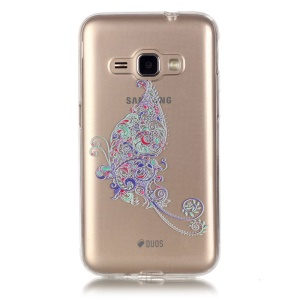 Embossed Clear TPU Back Case Cover for Samsung Galaxy J1 (2016) - Tattoo Style Colorful Flower