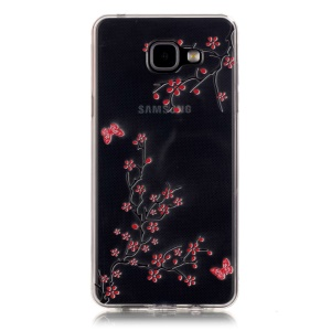 Embossed Soft TPU Back Case for Samsung Galaxy A5 SM-A510F (2016) - Plum Blossom and Butterfly