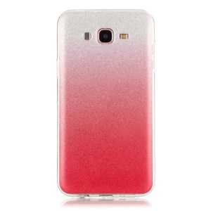 Gradient Glitter Powder IMD TPU Shell Case for Samsung Galaxy J7 SM-J700F - Red