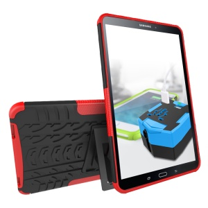 Cool Tyre Kickstand PC TPU Combo Case for Samsung Galaxy Tab A 10.1 (2016) T580 T585 - Red