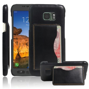 Vintage Leather Coated Hard PC Case for Samsung Galaxy S7 Active with Card Holder - Black