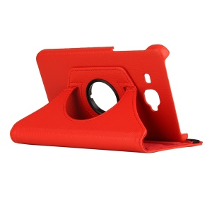 360-Degree Rotary Stand Litchi Leather Cover for Samsung Galaxy Tab J - Red