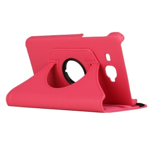 Litchi Leather 360-Degree Rotary Stand Cover for Samsung Galaxy Tab J - Rose