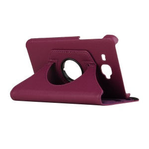 Swivel Stand Case Litchi PU Leather Cover for Samsung Galaxy Tab J - Purple