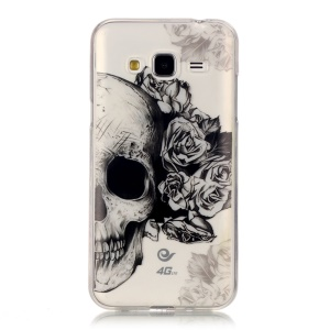 For Samsung Galaxy J3 (2016) Patterned IMD TPU Gel Protector Shell -  Skull with Roses