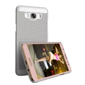 LOOPEE Hollow Mesh Hard PC Protective Cover for Samsung Galaxy J7 (2016) - Silver