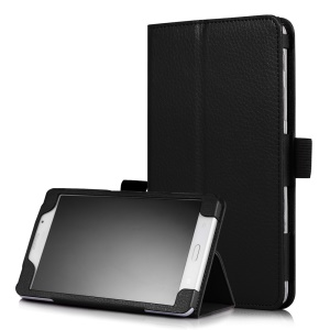 Litchi Grain PU Leather Stand Case for Samsung Galaxy Tab J 7.0 T285DY - Black