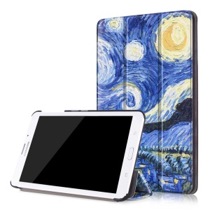 Tri-fold Leather Flip Case for Samsung Galaxy Tab J 7.0 T285DY - Starry Night Oil Painting