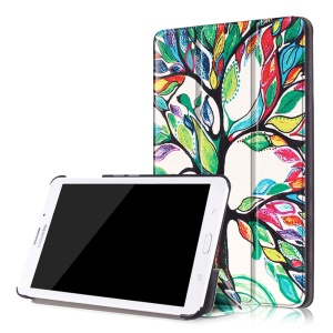 For Samsung Galaxy Tab J 7.0 T285DY Leather Case Tri-fold Cover - Colored Tree Painting