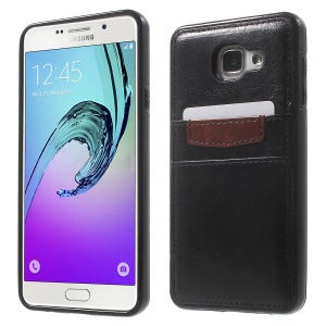Leather Coated Soft TPU Phone Case for Samsung Galaxy A7 SM-A710F (2016) with Card Slots - Black