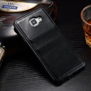 Leather Coated Card Holder TPU Case for Samsung Galaxy A7 SM-A710F (2016) - Black