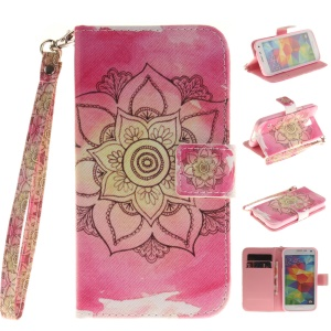 Leather Wallet Stand Case for Samsung Galaxy S5 G900 with Handy Strap - Pink Lotus