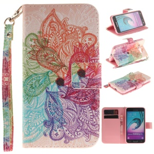 Illustration Leather Flip Protective Shell for Samsung Galaxy J3 / J3 (2016) with Wrist Strap - Paisley Flower