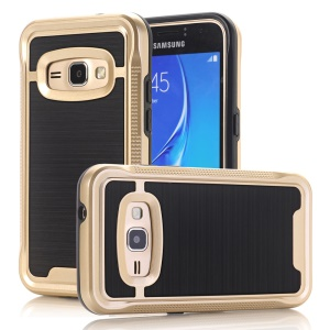 Armor Brushed PC + TPU Hybrid Case for Samsung Galaxy J1 (2016) - Gold