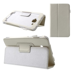 Litchi Texture Stand Leather Tablet Cover for Samsung Galaxy J Max - White