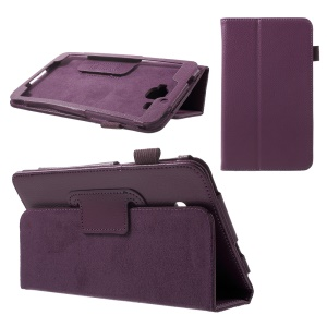 Litchi Texture Flip Leather Stand Shell for Samsung Galaxy J Max - Purple