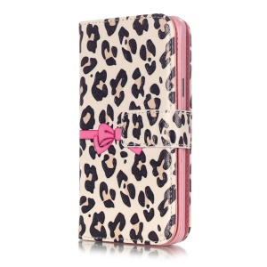 9 Card Slots Embossing Leather Stand Case for Samsung A5 SM-A510F (2016) - Leopard Pattern and Bowknot