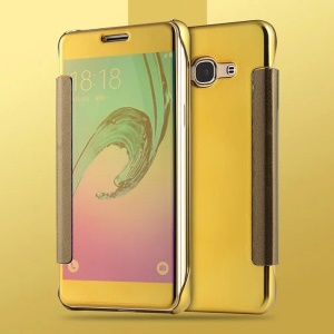 PC Leather Plating Mirror Surface Case for Samsung Galaxy J3 Pro - Gold