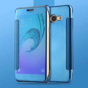 PC Leather Electroplating Mirror Surface Cover for Samsung Galaxy J3 Pro - Blue