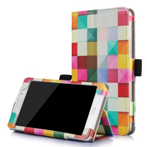 Patterned Flip Stand Leather Case for Galaxy Tab J 7.0 with Inner Frame - Colorful Grids