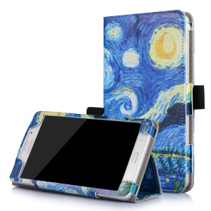 Patterned Flip Stand Leather Shell for Galaxy Tab J 7.0 with Inner Frame - Starry Sky