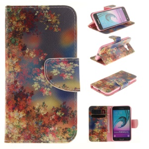 Card Holder Flip Leather Case for Samsung Galaxy J3 / J3 (2016) - Colorful Leaves