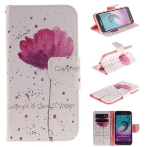 Magnetic Card Holder Leather Case for Samsung Galaxy J3 / J3 (2016) - Pretty Flower