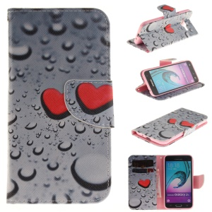 Leather Stand Card Holder Case for Samsung J3 / J3 (2016) - Water Drop and Red Heart