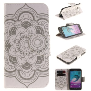 For Samsung Galaxy J3 / J3 (2016) Magnetic Leather Flip Cover - Mandala Flowers
