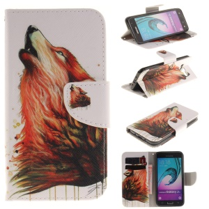 Flip Wallet Leather Cover for Samsung Galaxy J3 / J3 (2016) - Wolf Pattern