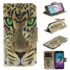 Wallet Leather Phone Cover for Samsung Galaxy J3 / J3 (2016) - Leopard Head
