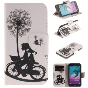 Wallet Leather Stand Case for Samsung Galaxy J3 / J3 (2016) - Sweet Lovers Riding Bike