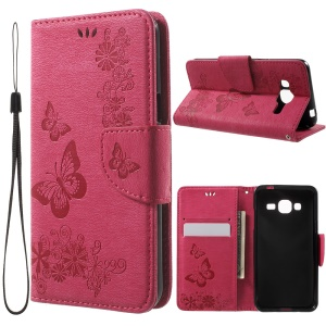 Imprint Butterfly Flowers Leather Card Holder Case for Samsung Galaxy J3 (2016) - Rose