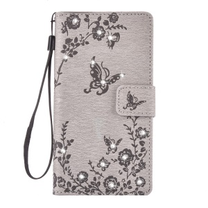 For Samsung Galaxy J5 (2016) SM-J510 Leather Wallet Case Imprinted Butterfly Flowers Rhinestone - Grey