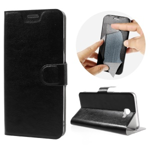 Crazy Horse Leather Stand Case for Samsung Galaxy On7 (2016) - Black