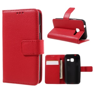 Litchi Grain Wallet Leather Phone Case for Samsung Galaxy J1 mini - Red