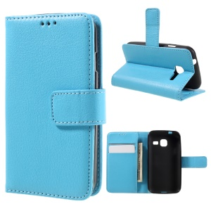Litchi Skin Protective Leather Stand Case for Samsung Galaxy J1 mini - Baby Blue