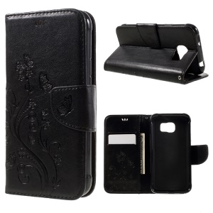 Imprint Butterfly Flowers Leather Wallet Case for Samsung Galaxy S7 Active - Black