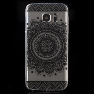 Patterned TPU Skin Cover Case for Samsung Galaxy S7 G930 - Mandala Flower