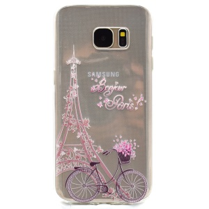 Patterned TPU Skin Case Cover for Samsung Galaxy S7 G930 - Eiffel Tower and Bike