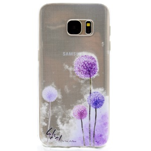 Patterned TPU Back Case Cover for Samsung Galaxy S7 G930 - Purple Dandelion