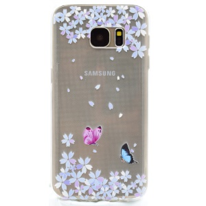 For Samsung Galaxy S7 G930 Patterned TPU Case Cover - Butterflies and Flowers