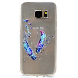 For Samsung Galaxy S7 G930 Gel TPU Patterned Case - Feathers and Birds