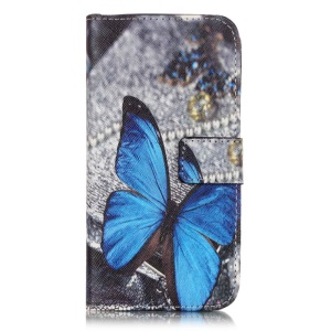 Wallet Leather Stand Cover for Samsung Galaxy J3 / J3 (2016) - Blue Butterfly