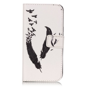 Magnetic Leather Stand Case for Samsung Galaxy J3 / J3 (2016) - Feather Pattern